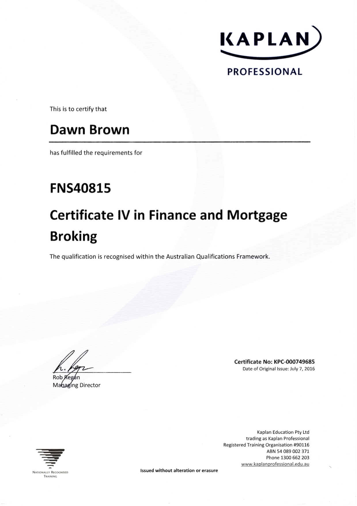 Certificate IV in Finance and Mortgage Broking
