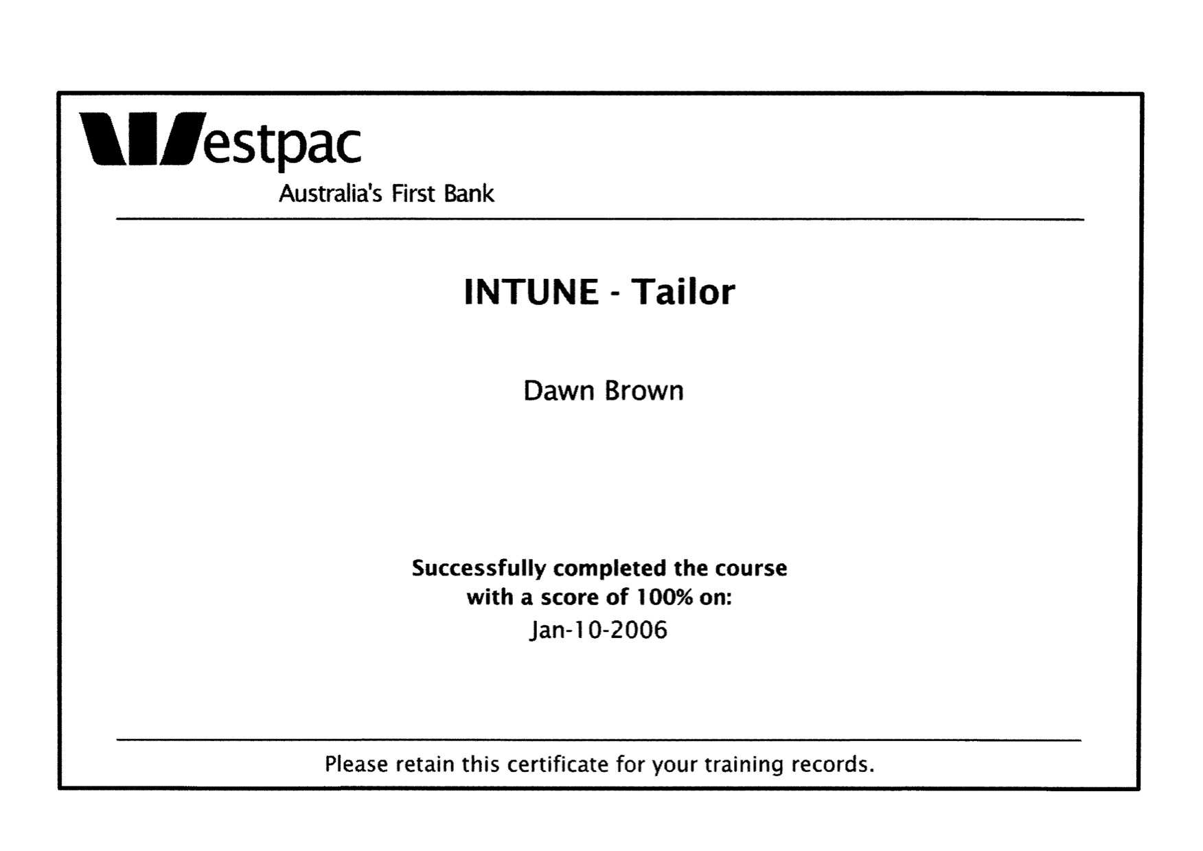 Westpac in tune tailor course certificate