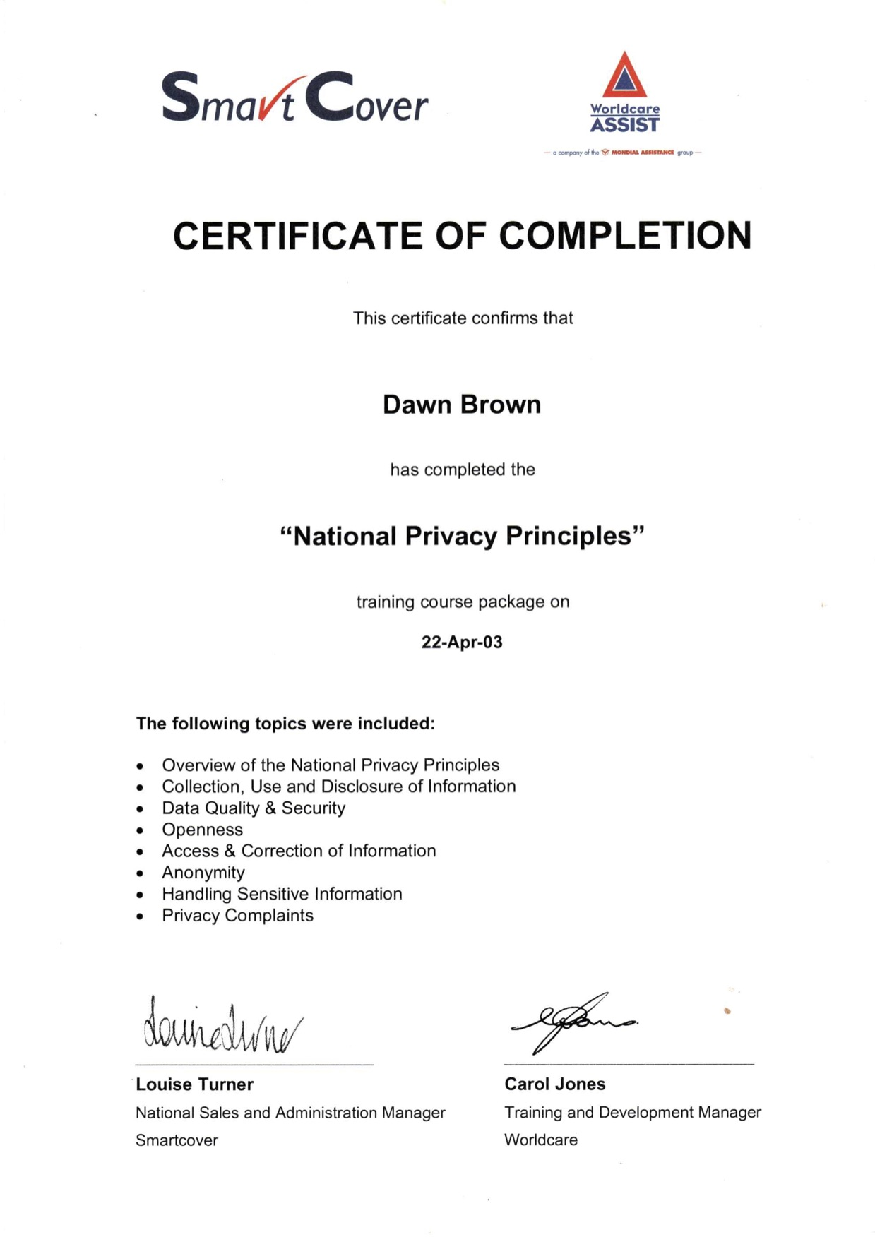 Smart cover national privacy principles training certificate