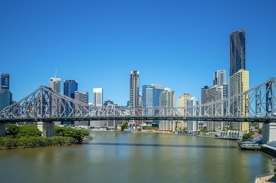 Shot of the Brisbane business district on a sunny day.