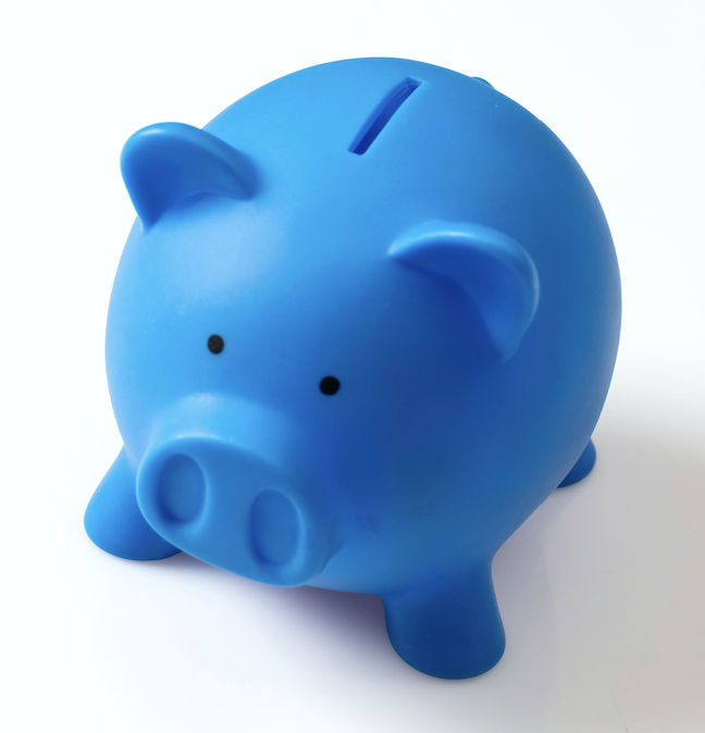 An image of a piggy bank in blue to match Quantum branding.
