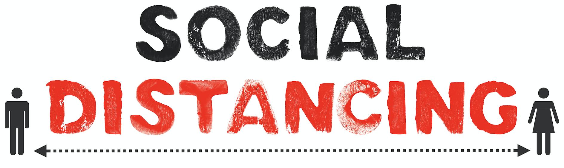 A banner designed to promote social distancing.