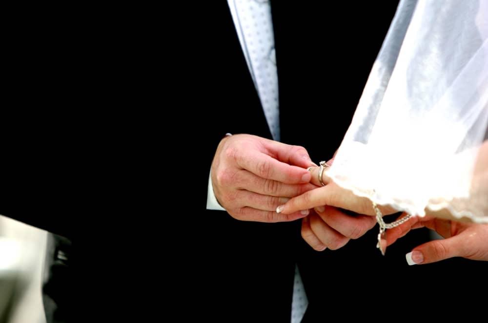 Wedding- exchange of rings.