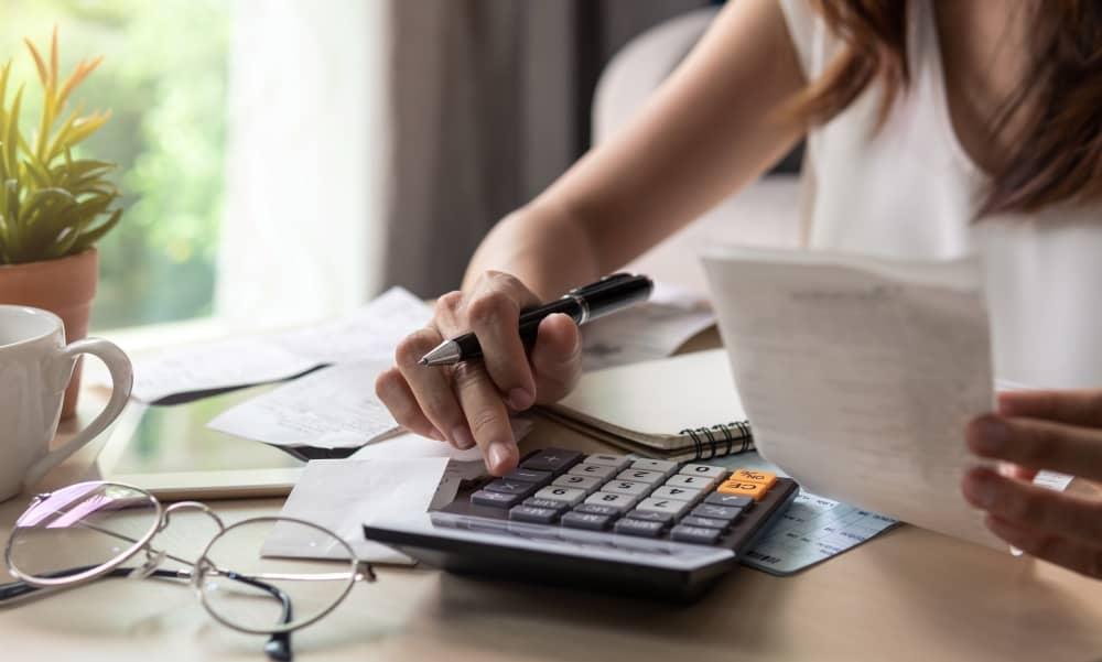 Calculating finances.